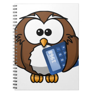 Owl with Calculator, math, student, accounting, Notebook