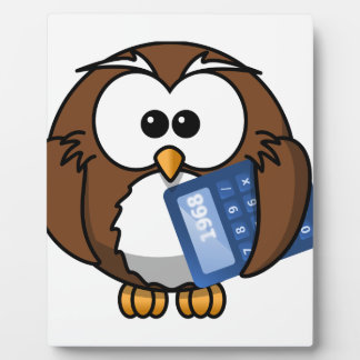 Owl with Calculator, math, student, accounting, Plaque