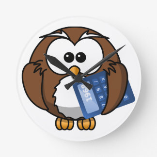 Owl with Calculator, math, student, accounting, Round Clock
