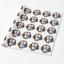 Owl with Calculator, math, student, accounting, Wrapping Paper