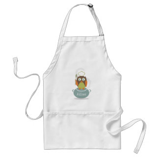Owl With Chef's Hat & Spoon On Cooking Pot Adult Apron