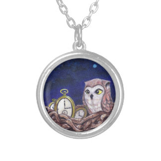 Owl with clock eggs necklace