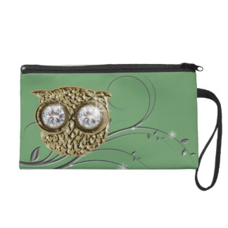 Owl with diamond eyes wristlet purse