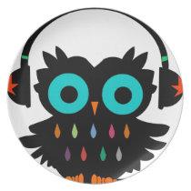 Owl with Earphones Dinner Plate