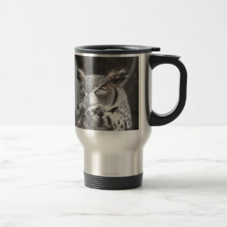 Owl with eyes closed sleeping during the day travel mug