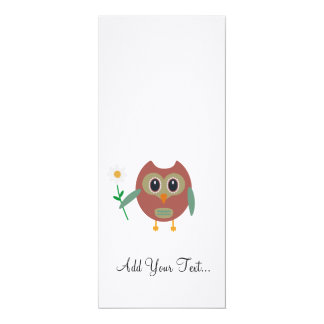 Owl with Flower 4x9.25 Paper Invitation Card