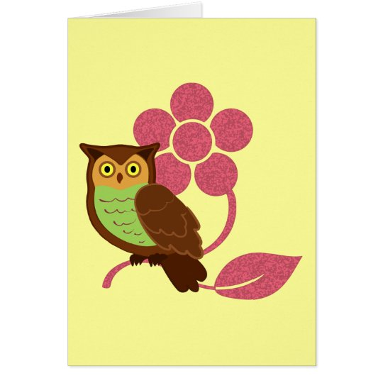 Owl with flower design card