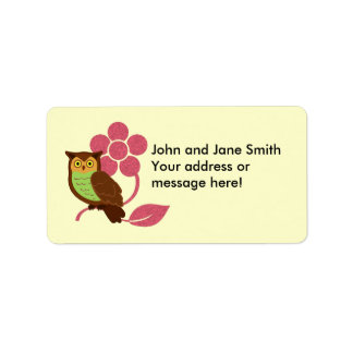 Owl with flower design label