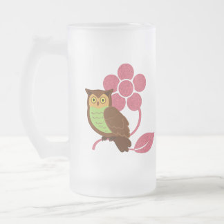 Owl with flower design 16 oz frosted glass beer mug