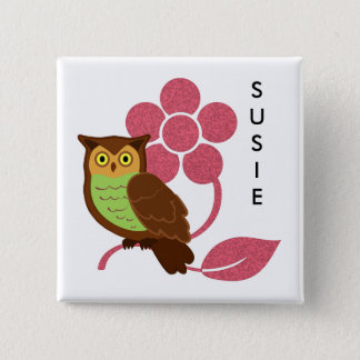 Owl with flower design pinback button