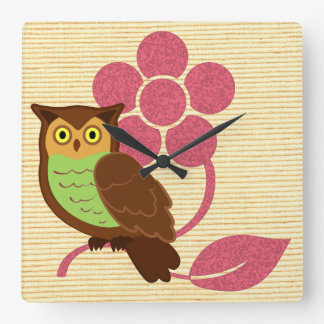 Owl with flower design square wall clock