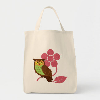 Owl with flower design tote bag