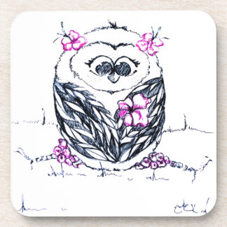 Owl with flowers beverage coaster
