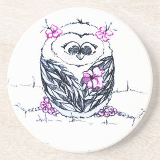 Owl with flowers coaster