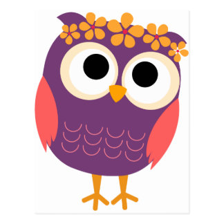 Owl with Flowers in Her Hair Postcard
