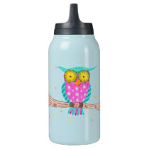 Owl with flowery eyes teal thermo bottle