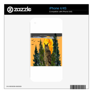 OWL WITH FULL MOON & PINE TREES DECAL FOR THE iPhone 4S