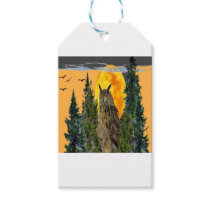 OWL WITH FULL MOON & PINE TREES GIFT TAGS