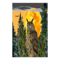 OWL WITH FULL MOON & PINE TREES STATIONERY
