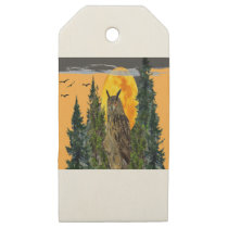 OWL WITH FULL MOON & PINE TREES WOODEN GIFT TAGS