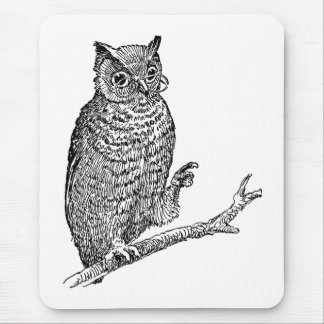 Owl With Glasses Mouse Pad