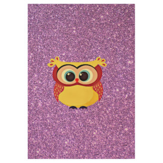 Owl with Glitter Wood Poster
