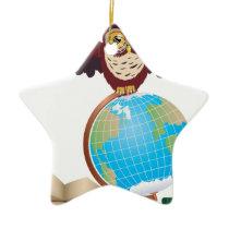 Owl with Globe 2 Ceramic Ornament