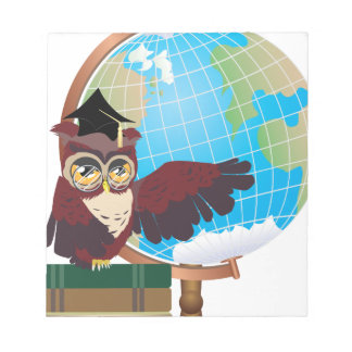 Owl with Globe Notepad