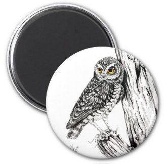 Owl With Grasshopper Magnet
