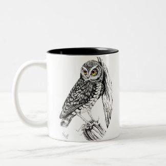Owl with Grasshopper Mug in ink