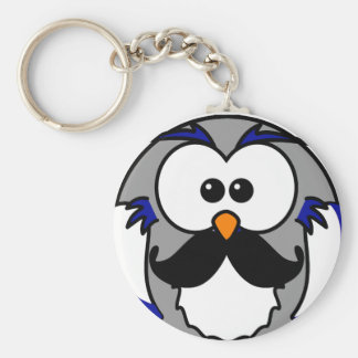 Owl with Handlebar Mustache Moustache Keychains