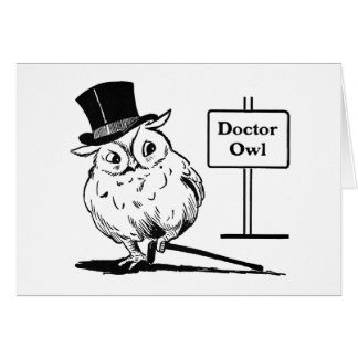 Owl With Hat and Cane Card