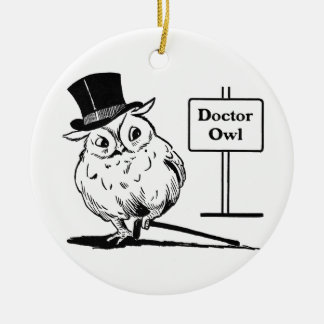 Owl With Hat and Cane Ceramic Ornament