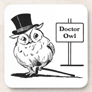 Owl With Hat and Cane Drink Coaster