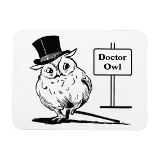 Owl With Hat and Cane Magnet