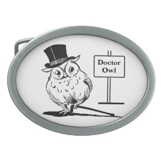 Owl With Hat and Cane Oval Belt Buckle