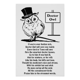 Owl With Hat and Cane Poster