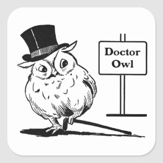 Owl With Hat and Cane Square Sticker