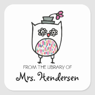 Owl with Hat Bookplates Square Sticker
