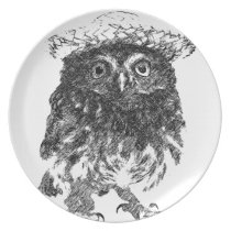 Owl with hat dinner plate