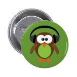 Owl With Headphones 2 Inch Round Button