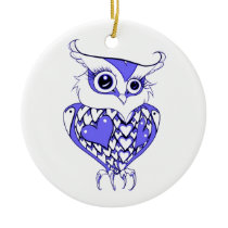 Owl with Hearts Ceramic Ornament