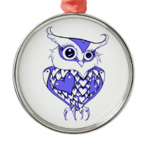 Owl with Hearts Metal Ornament