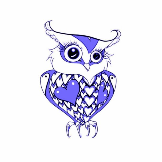 Owl with hearts sculpture keychain