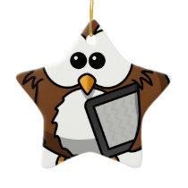 Owl with its shelf ceramic ornament
