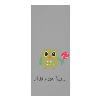 Owl with lollipop 4x9.25 paper invitation card