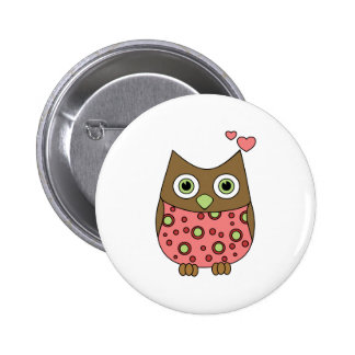 Owl WIth Love 2 Inch Round Button
