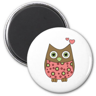 Owl WIth Love 2 Inch Round Magnet