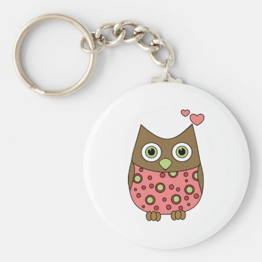 Owl WIth Love Basic Round Button Keychain