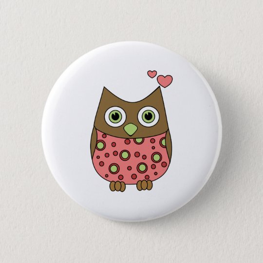 Owl WIth Love Pinback Button